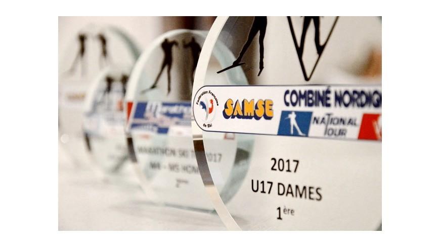 Trophée combiné nordique U17en verre personnalisé